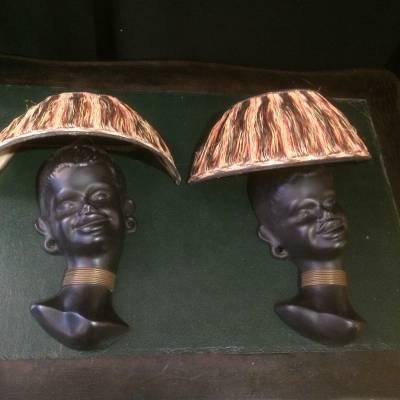 paire appliques céramique tête femme