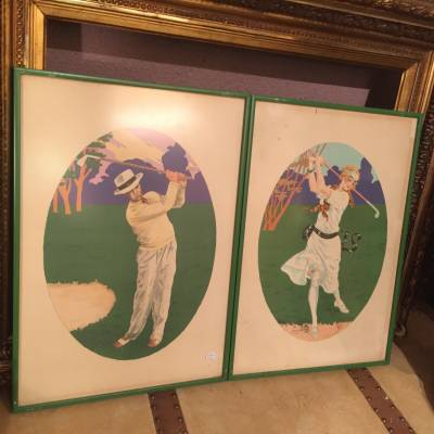 lithographies couple golfeurs Georges Grelle