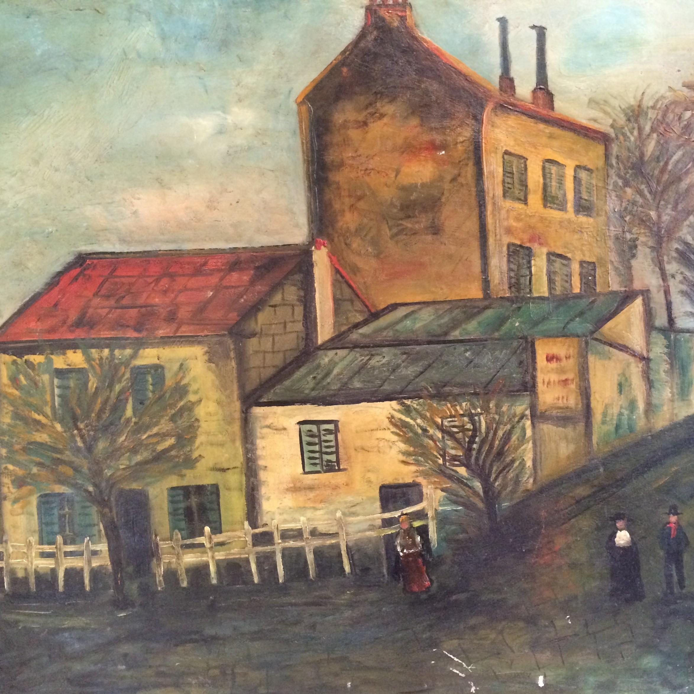 huile sur toile naïf Lapin Agile, Montmartre, début XXè, H. Brouay